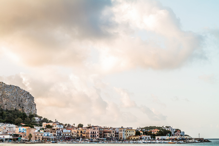 mondello: Mondello Coastline near Palermo City, Italy on war warm summer day