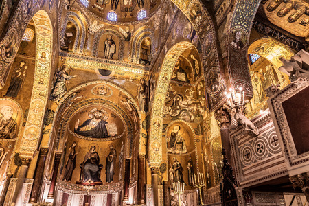 PALERMO, SICILYITALY - JUNE 27 2013: Interior Shot of the famous Cappella Palatina in Sicily on June 27 2013 in the Palazzo Reale in Palermo in Sicily, Italy