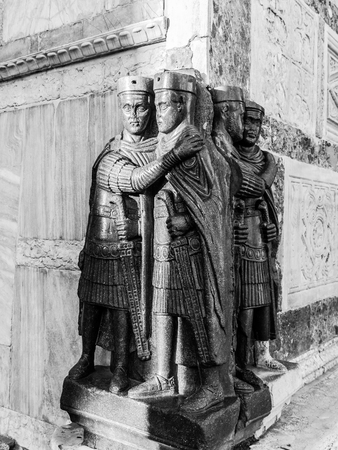 emperors:  Antique Roman Statue Group of the Tetrarchs. Marble Statues of the Emperors of Rome