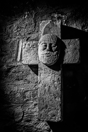 interior shot: WUERZBURG, GERMANY - MARCH 08 2015: Interior Shot of an Medieval Cross from the Catholic Christian Cathedral of Wuerzburg in Bavaria, Germany Editorial
