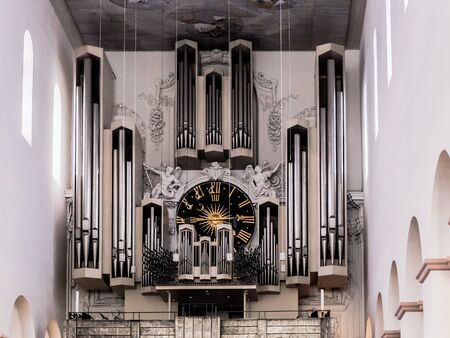 interior shot: WUERZBURG, GERMANY - MARCH 08 2015: Interior Shot of the Church Organ from the Catholic Christian Cathedral of Wuerzburg in Bavaria, Germany