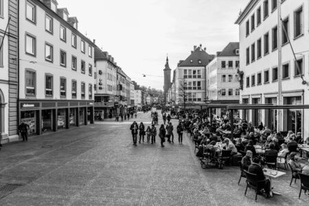 inner city: WUERZBURG, GERMANY - MARCH 08 2015: Wuerzburg Inner City on a warm early Spring day