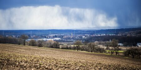 hail: Storm Niklas in Northern Franconia, Bavaria in Germany. Spring Thunderstorm with Hail and Snow in March 2015 Stock Photo