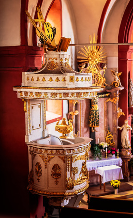 interior shot: TICKS VILLAGE, BAVARIA  GERMANY - April 04 2015: Interior shot of the famous mountain chapel near Guegel Schesslitzview in Bavaria, Germany