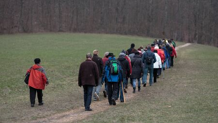 worship service: Schesslitzview, GERMANY - April 06 2015: Traditional Easter Monday procession to the Church Guegel