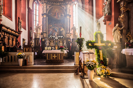 church service: Schesslitzview, GERMANY - April 06 2015: Traditional Christian Catholic Church service on Easter on Easter Monday in the Chapel near Guegel Schesslitzview in Bavaria Editorial