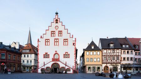 river main: KARLSTADT, GERMANY - APRIL 07 2015: Franconian City of Karlstadt at the River Main in Germany. Lovely evening with clear blue sky in early April spring. Old medieval city with city wall and tower Editorial
