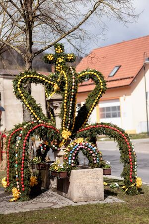 rural countryside: Franconian Easter Well. Rural Countryside Tradition in Germany
