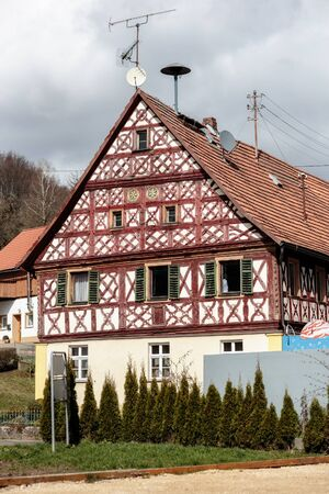 half timbered house: Half Timberd Historical House in a Franconia Village