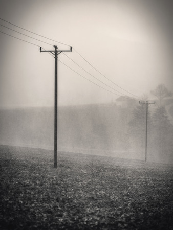 dreary: Early Spring Thunderstorm in Franconia, Germany. Dreary Atmosphere Stock Photo