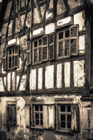upper half: Dilapidated Half Timbered Historical House in Upper Franconia, Germany