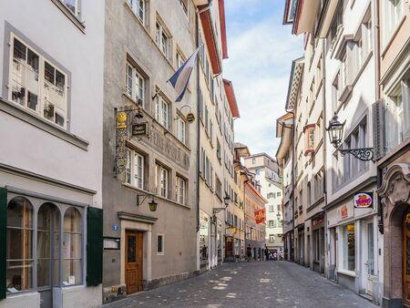 zurich: ZURICH SWITZERLAND MAY 14 2015: Inner City of Zurich Switzerland. Old Town