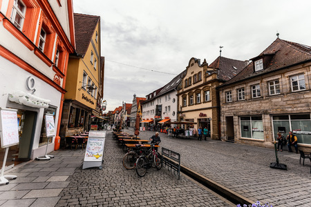 upper half: FORCHHEIM GERMANY MAY 27 2015: Forchheim Inner City with historical buildings