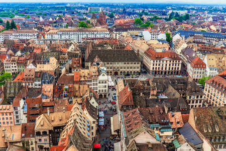 half  timbered: STRASBOURG, FRANCE - MAY 16 2015: Historical picturesque european Town of Strasbourg, France. Historical Half Timbered Houses. Aerial View Stock Photo