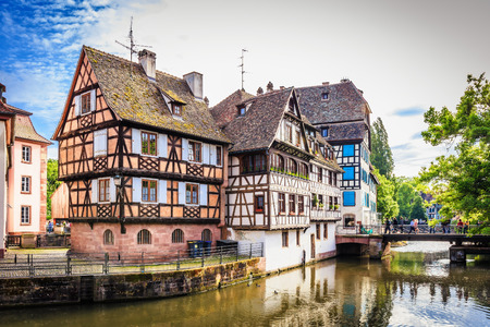 half timbered: STRASBOURG FRANCE 16 MAY 2015: Historical european picturesque Town of Strasbourg France. Historical Half Timbered Houses Editorial