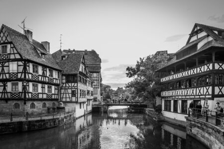 timbered: STRASBOURG FRANCE 16 MAY 2015: Historical european picturesque Town of Strasbourg France. Historical Half Timbered Houses. Vintage Black and White Editorial