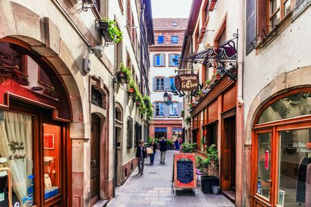 half timbered house: STRASBOURG FRANCE 16 MAY 2015: Historical european picturesque Town of Strasbourg France. Historical Half Timbered Houses Editorial