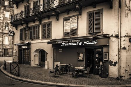half timbered house: STRASBOURG FRANCE 16 MAY 2015: Historical european picturesque Town of Strasbourg France. Historical Half Timbered Houses. Old restaurant. Vintage Black and White