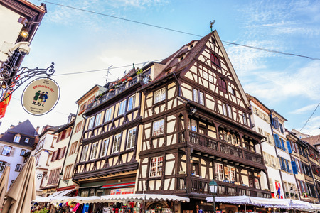strasbourg: STRASBOURG FRANCE 16 MAY 2015: Historical european picturesque Town of Strasbourg France. Historical Half Timbered Houses Editorial