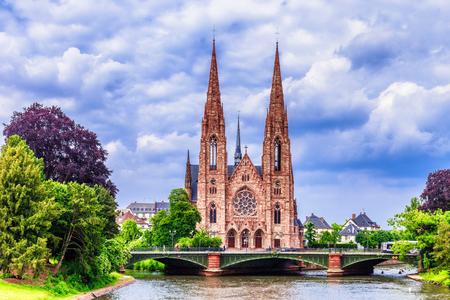 strasbourg: STRASBOURG FRANCE 16 MAY 2015: Strasbourg City Medieval Protestant Church on a hot spring day
