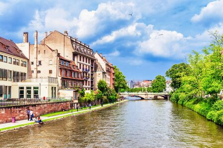 timbered: STRASBOURG FRANCE 16 MAY 2015: Historical european picturesque Town of Strasbourg France. Historical Half Timbered Houses Editorial