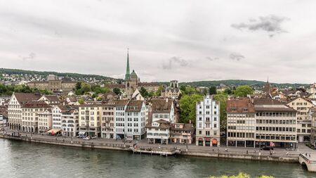 zurich: ZURICH SWITZERLAND MAY 14 2015: Inner City of Zurich Switzerland. Old Town at the river Editorial