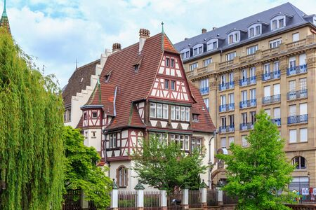 timbered: STRASBOURG, FRANCE - MAY 16 2015: Historical picturesque european Town of Strasbourg, France. Historical Half Timbered Houses. Vintage Black and White Editorial