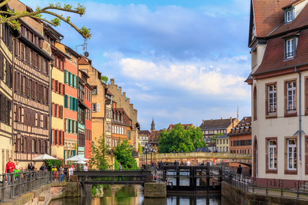 strasbourg: STRASBOURG, FRANCE - MAY 16 2015: Historical picturesque european Town of Strasbourg, France. Historical Half Timbered Houses. Vintage Black and White Editorial