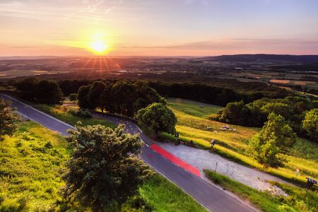 rural countryside: Summer Sunset in early June in the rural countryside of Germany near Bamberg in Franconia. Lovely green and orange colors