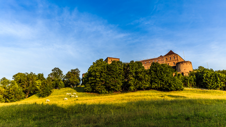'dark ages': Giechburg Castle Ruin in Franconia, Germany near Bamberg in early summer June. Landmark with Lovely medieval architecture