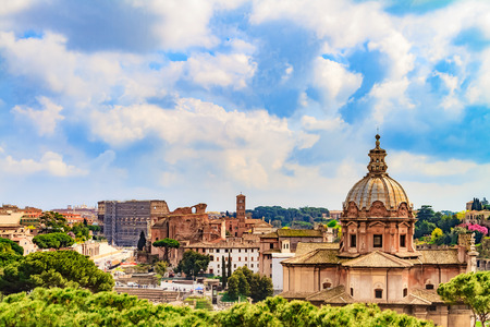 clerical: Bella Roma. Lovely View on the ancient buildings of Rome, Italy on a beautiful warm spring morning. View over the old historical and clerical buildings and landmarks