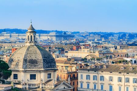 clerical: Bella Roma. Lovely View from the Pincio Landmark in Rome, Italy on a beautiful warm spring morning. View over the old historical and clerical buildings