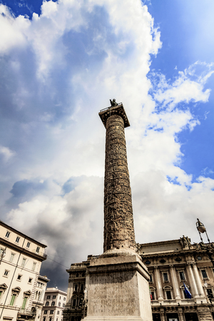 bella: Bella Roma. Lovely View on the Marcus Aurelius Coumn in Rome, Italy on a beautiful warm spring morning. Stock Photo