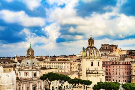 bella: Bella Roma. Lovely View on the ancient buildings of Rome, Italy on a beautiful warm spring morning. View over the old historical and clerical buildings and landmarks