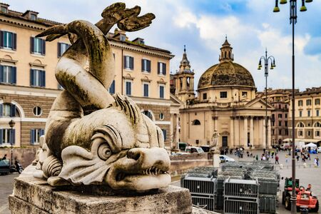 clerical: Bella Roma. Lovely Sculpture from the Pincio Landmark in Rome, Italy on a beautiful warm spring morning. View over the old historical and clerical buildings