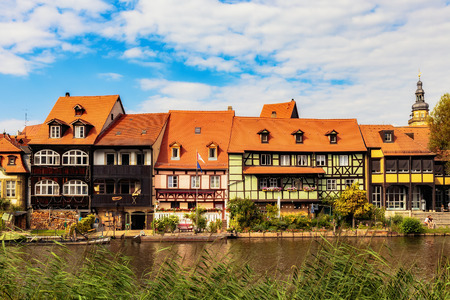 17th: Little Venice in Bamberg, Germany. Historical Fisher Houses of Kleinvenedig from the 17th Century at the River Regnitz. European Landmark in Franconia, Bavaria