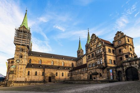 world culture: Bamberg Cathedral on a warm summer evening. Lovely medieval christian church in the world culture heritage city of Bamberg. Franconian Landmark in Bavaria