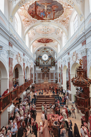 sermon: AUGSBURG, GERMANY . AUGUST 08 2015: Augsburg City in Bavaria, Germany. Ecumenical Church Service on the anniversary of the Peace of Religions of Augsburg. Sermon on the pulpit Editorial