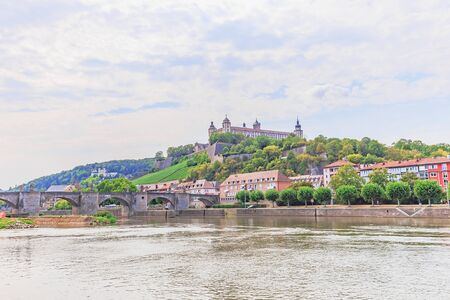 inner city: WUERZBURG, GERMANY - AUGUST 14 2015: Wuerzburg Old Town and Inner City in Franconia, Germany in Bavaria on a warm summer august day. Picturesque historical buildings Editorial