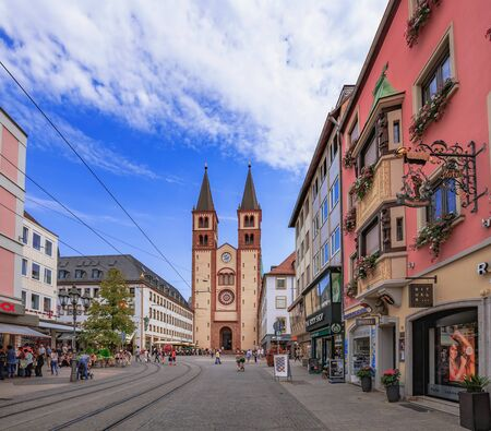 building monumental: WUERZBURG, GERMANY - AUGUST 14 2015: Wuerzburg Old Town and Inner City in Franconia, Germany in Bavaria on a warm summer august day. Picturesque historical buildings Editorial