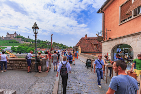 architecture monumental: WUERZBURG, GERMANY - AUGUST 14 2015: Wuerzburg Old Town and Inner City in Franconia, Germany in Bavaria on a warm summer august day. Picturesque historical buildings Editorial
