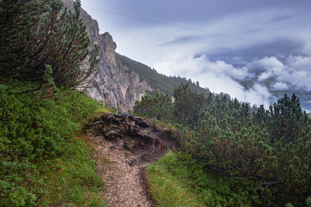 bleak: Karwendel Mountain Range in Tyrol, Austria on a foggy and rainy day in August. High Mountains landscape in a bleak and desolate landscape Stock Photo