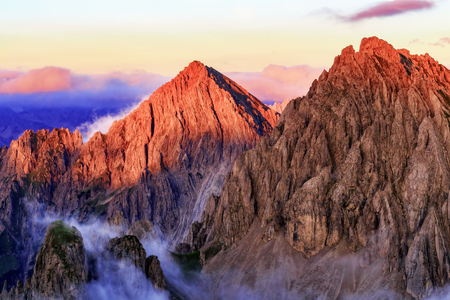 mountain range: Sunrise in the Mountains. Picturesque Dawn in lovely colors in the Karwendel Mountain Range of Tirol, Austria. Stock Photo