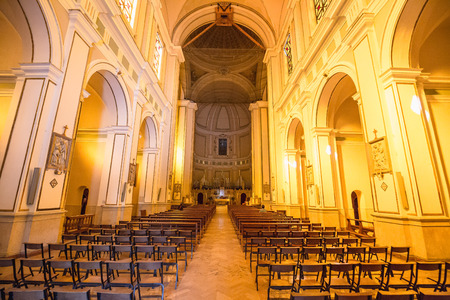palermo   italy: PALERMO, ITALY - SEPTEMBER 12 2015: Inside View of a church in the City of Palermo, Sicily Editorial