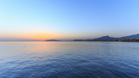 palermo   italy: Lovely Sunrise on the sea at Palermo, Italy in Sicily. Dawn at the island. Lovely quiet morning and sea Stock Photo