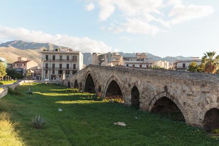 palermo   italy: Medieval Historical Bridge Ponte dell Ammiraglio in Sicily, Palermo Italy