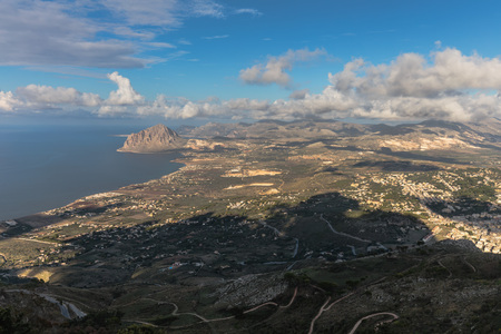 trapani: Sicilian Landscape at the Erice Mountain near Trapani, Italy. Hot autumn afternoon with some clouds. Warm colors and lovely sky. Popular travel destination