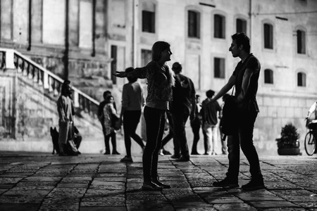 photography: PALERMO, ITALY - OCTOBER 01 2015: Open Dance Night with traditional dances at the Piazza Pretoria in Palermo, Sicily.Night High ISO Black and White Photography with low depth of field and noise