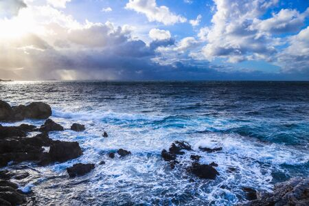 gallo: Dramatic Coast of Capo Gallo on Sicily in a Storm. Lovely landscape with many clouds in Sicily, Italy at the sea