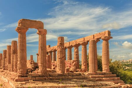 agrigento: Valley of Temples, Agrigento Sicily in Italy. Famous ancient greek temples of Agrigento, Sicily on a warm autumn day. Mediterranean atmosphere Stock Photo